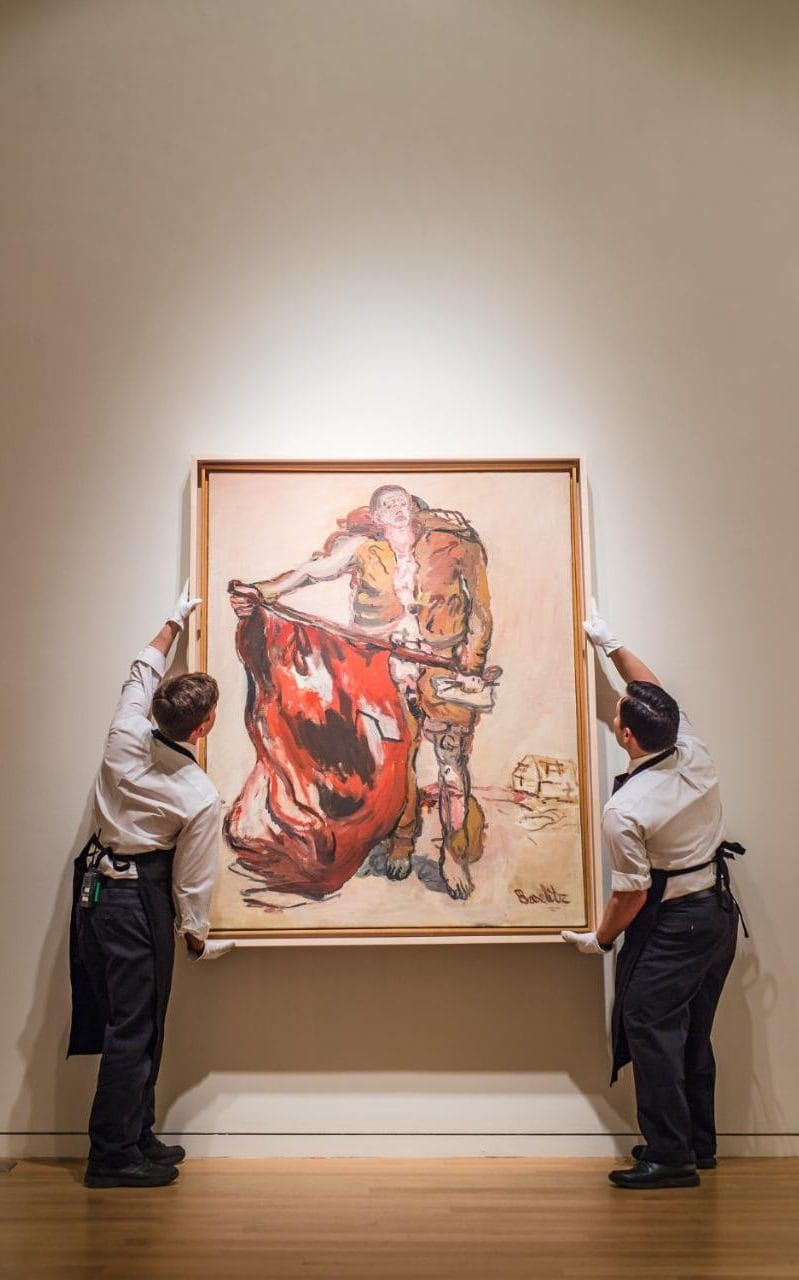 The winners and losers from London's £286 million contemporary art sales || Image Source: http://www.telegraph.co.uk/content/dam/luxury/2017/03/13/Lot-6-Georg-Baselitz-Mit-Roter-Fahne-With-Red-Flag-1965-i-xlarge_trans_NvBQzQNjv4Bq1N-0BbrGahnullJmqzE3fwWBR3W8i_BpdASmJCKKq2U.jpg