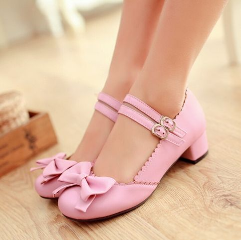 Women/'s Lolita Sweet Cute Bow Buckles Round-Toe Chunky Low-Heel Casual Shoes Hot
