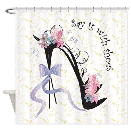CafePress Grey Damask Decorative Fabric Shower Curtain (69