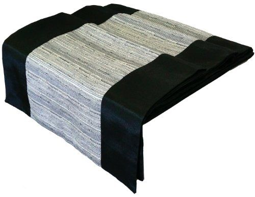 Artiwa Black Silk Decorative Table Runner Bed Runner 120 Inch With Grey Stripe Gift Idea Final Call Bed Runner Table Decorations Table Runners
