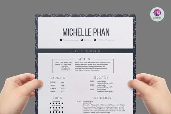 Elegant resume template Graphic Design - Resumes Pinterest - resume business cards