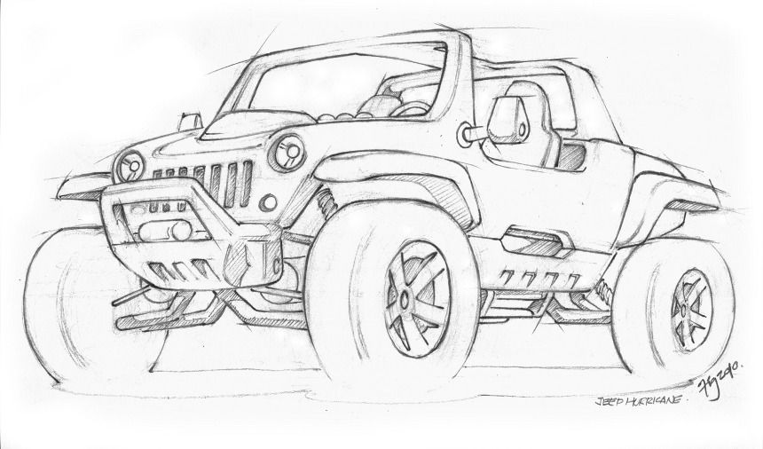 Hurricane Concept For The Jeep Coloring Book Jeep Drawing Technical Illustration White Jeep Wrangler