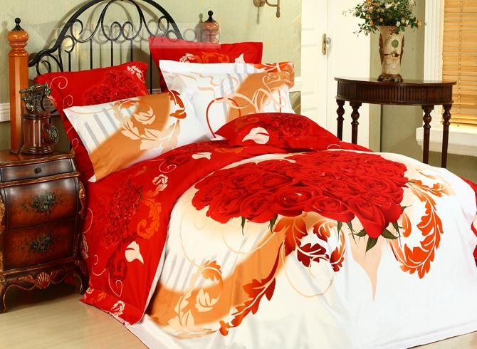 Warmly Heart Shaped Rose 4 Piece Girls Comforter Bedding Sets Tidebuy Com Bedding Sets Comforter Bedding Sets Luxury Bedding Sets