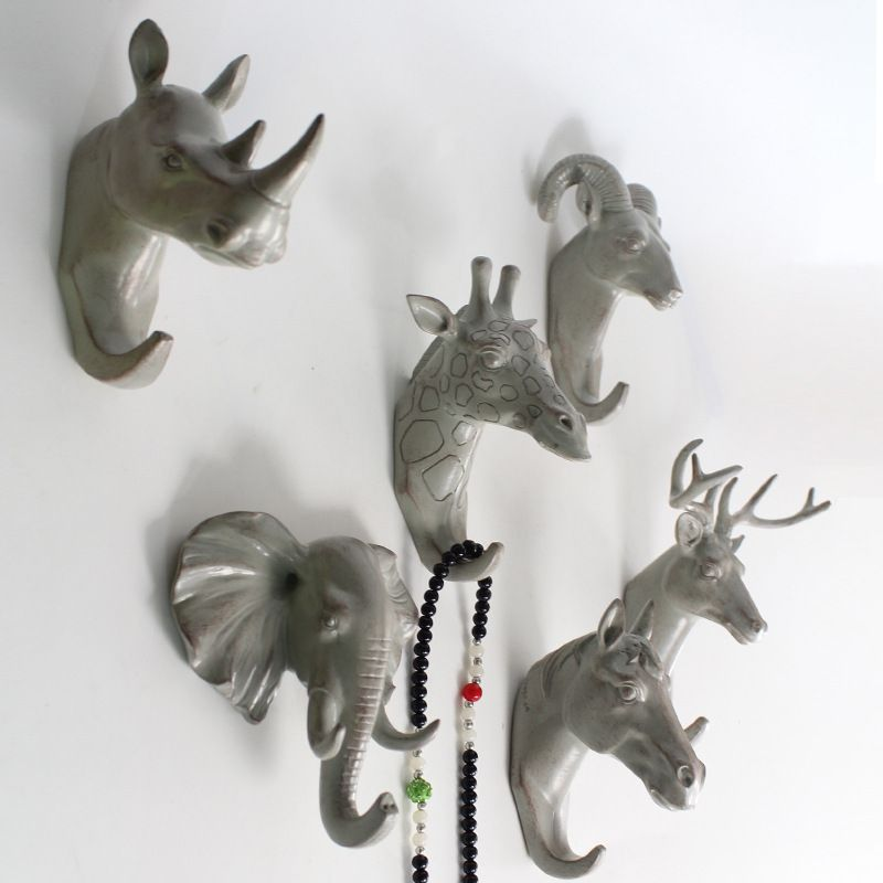 Aliexpress Com Buy Decorative Resin Overcoat Hanger Animal Head Modeling European Hooks For Door Wall Hanger Creative Modern Wall Hooks Animal Heads Wall Hanger
