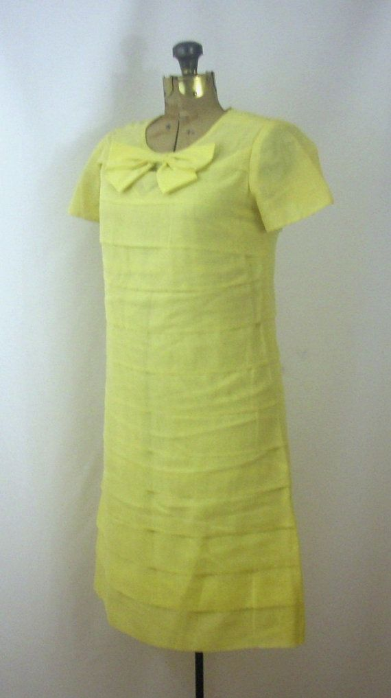 Linen Dress Bow Front Layered Lemon Yellow by SoleilVintageShop