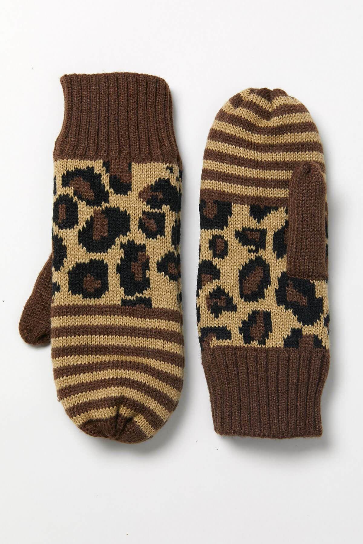 Panache Leopard Stripe Mittens - One Size / Brown