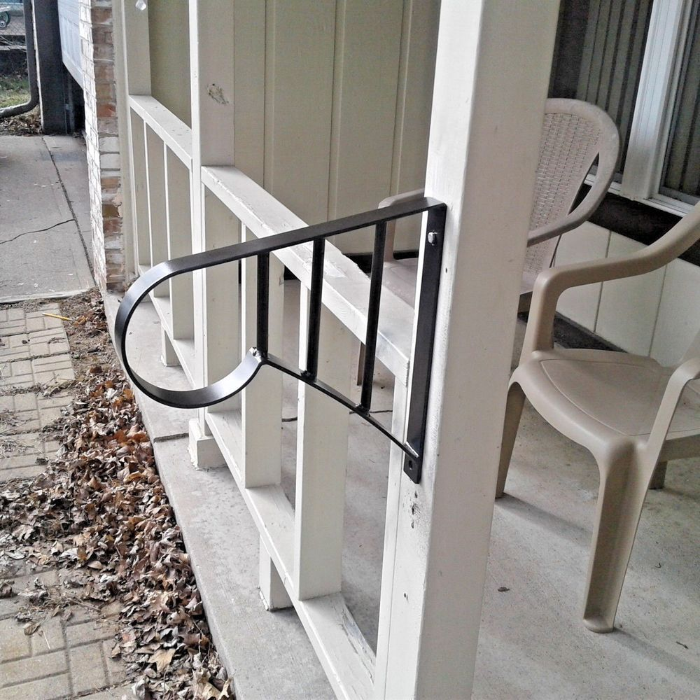 New Wrought Iron Metal 1 2 Step Handrail Steel Stair Safety Grab   Metal Steps For Outside   Loading Dock   Covered   Round   Easy   Outdoors