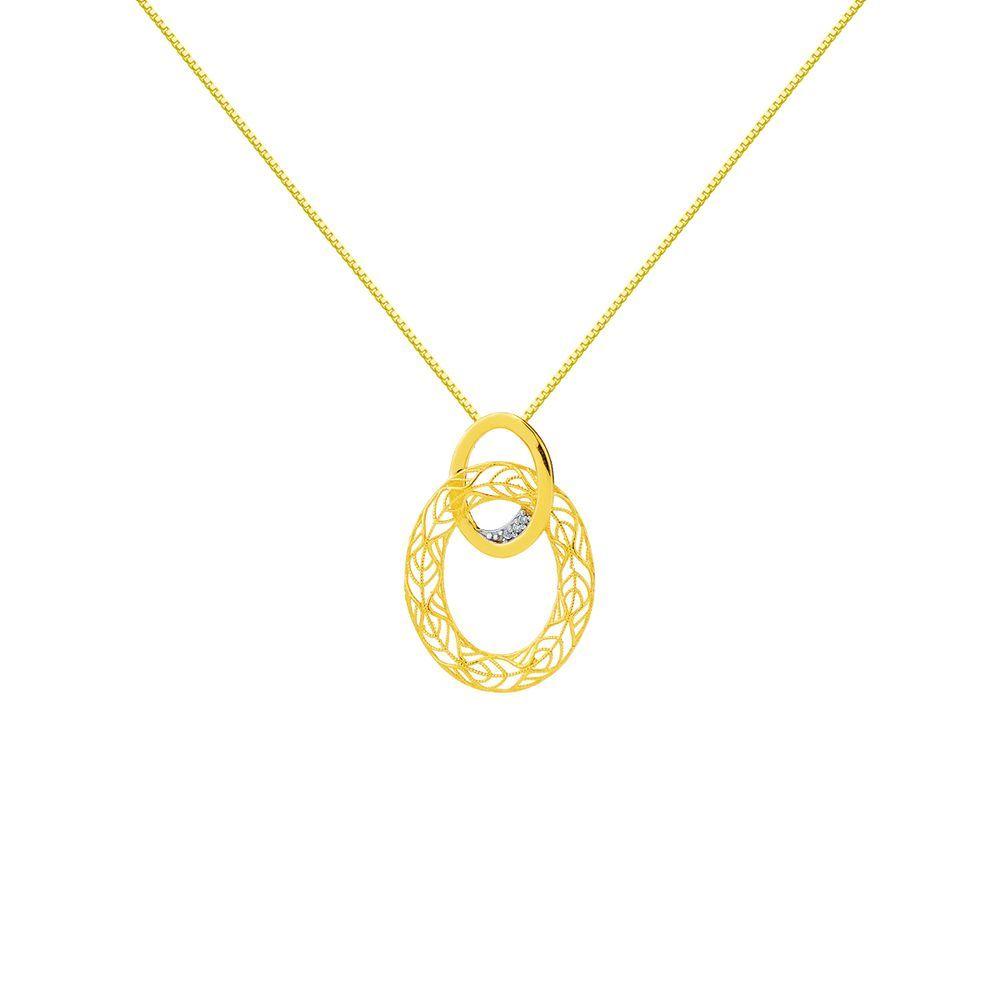 Gargantilha em Ouro 18k Elos Trabalhados com Diamantes.  ouro  diamante   gargantilha 375c24931c