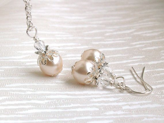 Blush Pink Necklace And Earrings Bridesmaid Gift by LaurinWedding