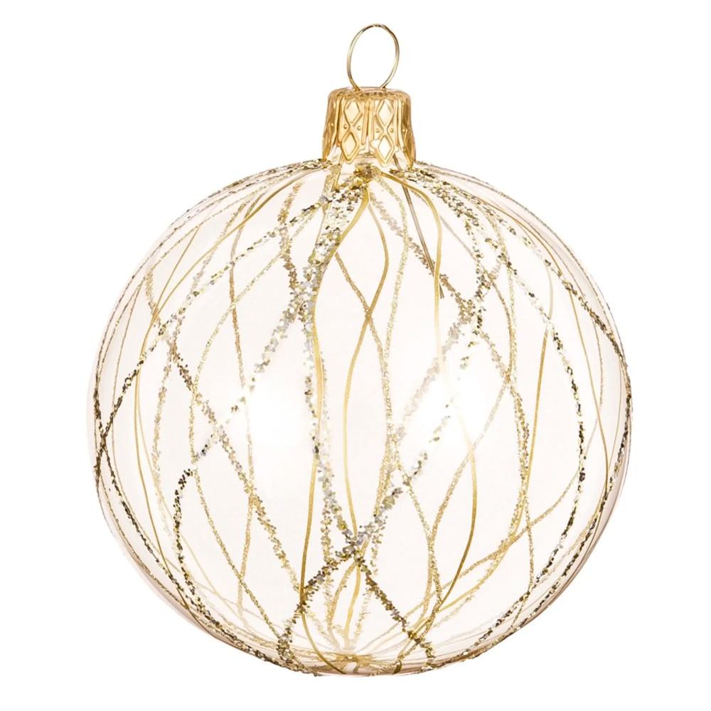 Bola De Navidad De Cristal Con Motivos Gráficos Dorados Y Purpurina Maisons Du Monde Bolas De Navidad Esferas Navideñas Guirnaldas Navideñas