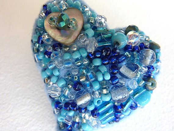 blue Heart Beaded Brooch Pin a mixed media brooch by shelikesthis