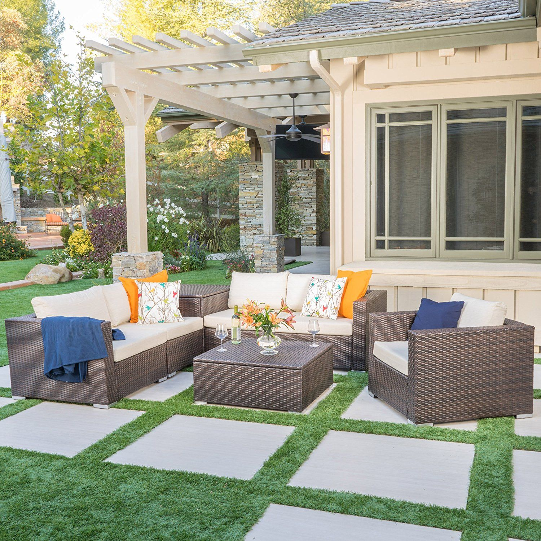 Best Amazon Com Cortez Sea Patio Furniture 7 Piece Outdoor Wicker Sectional Sofa Set With Wicker 400 x 300