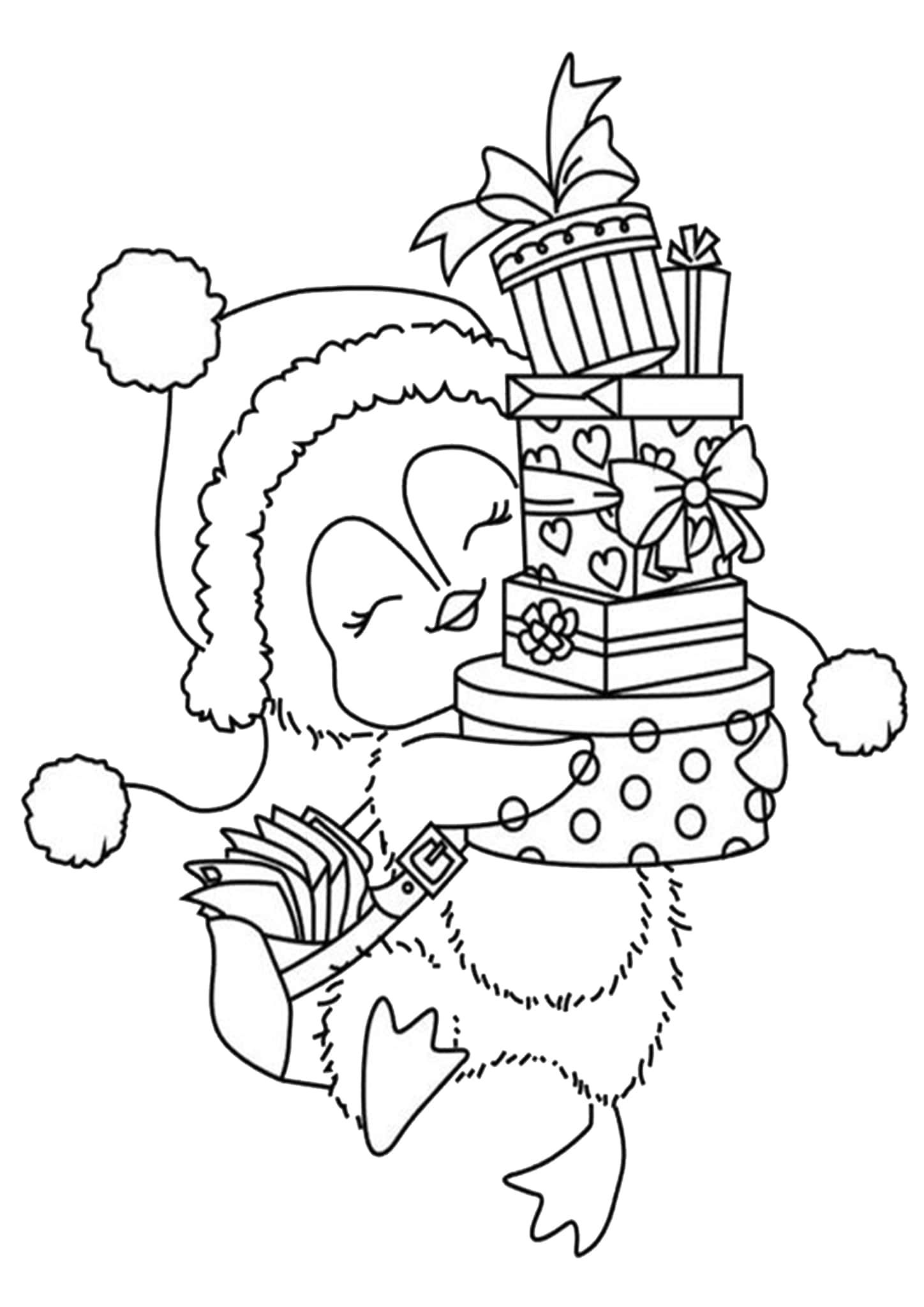 Free Coloring Pages Christmas Animals