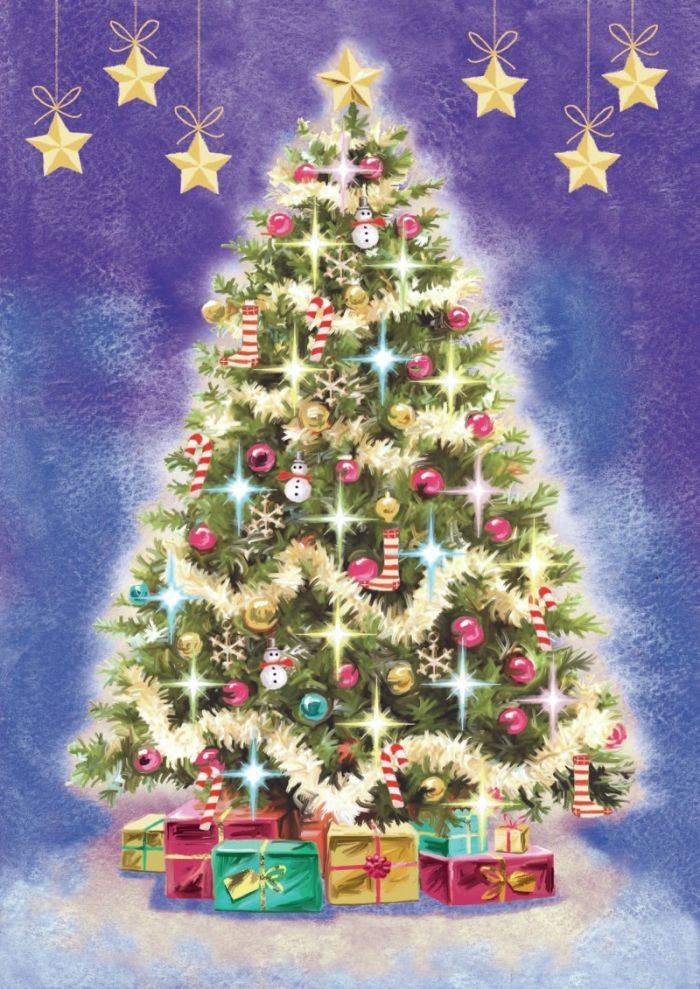 Decorated Xmas Tree Copy Jpg Victor Mclindon Representing Leading Artists Who Produce Children S A Christmas Tree Art Modern Christmas Cards Christmas Images