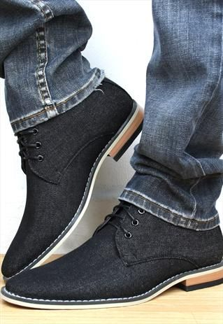 Mens Desert Boots Black Jean Lace Ups From Shoesnbags Awesome Look
