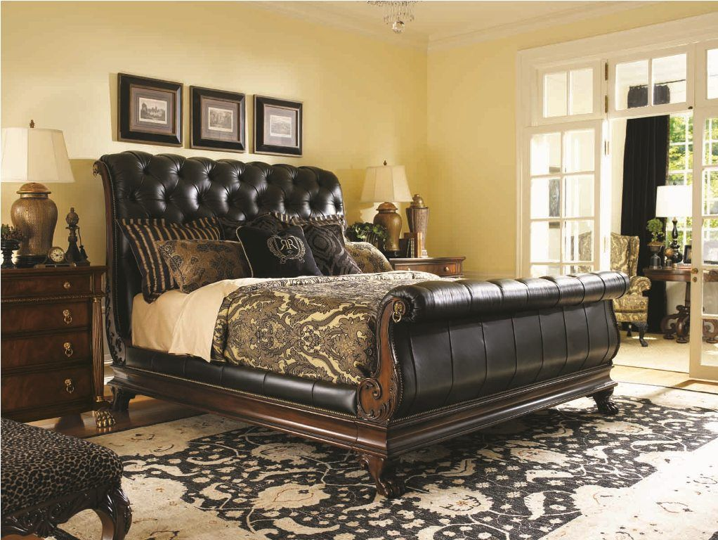 terrific leather bedroom furniture design | 21 Marvelous Bedroom Designs With Sleigh Beds | Sleigh ...