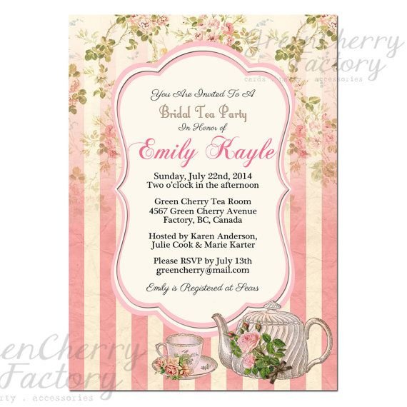 Tea Party Invitation Bridal Shower by GreenCherryFactory on Etsy