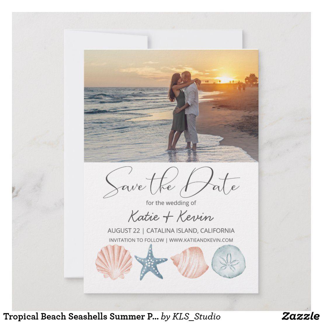 Tropical Beach Seashells Summer Photo Wedding Save The