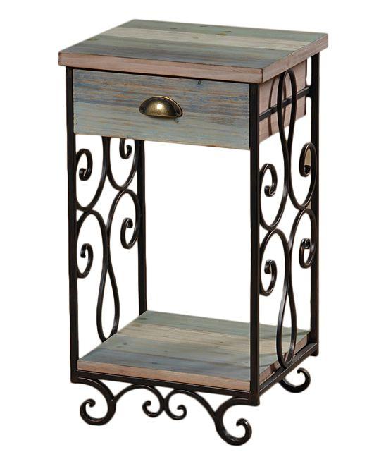 Wood & Iron Top-Drawer Storage Shelf