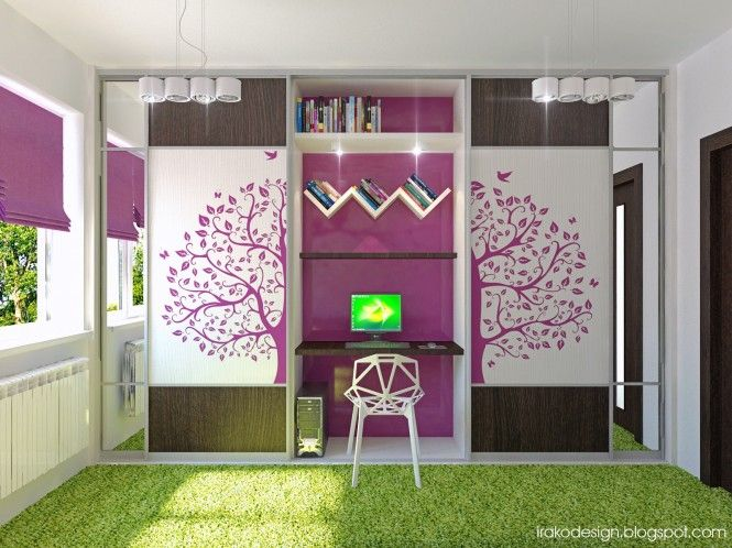 good start to an workspaceoffice design Fuchsia and neon green – Cute Bedroom Ideas for Teenage Girls