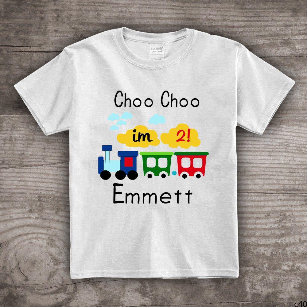 Choo Choo I'm 2 train birthday shirt Etsy Train