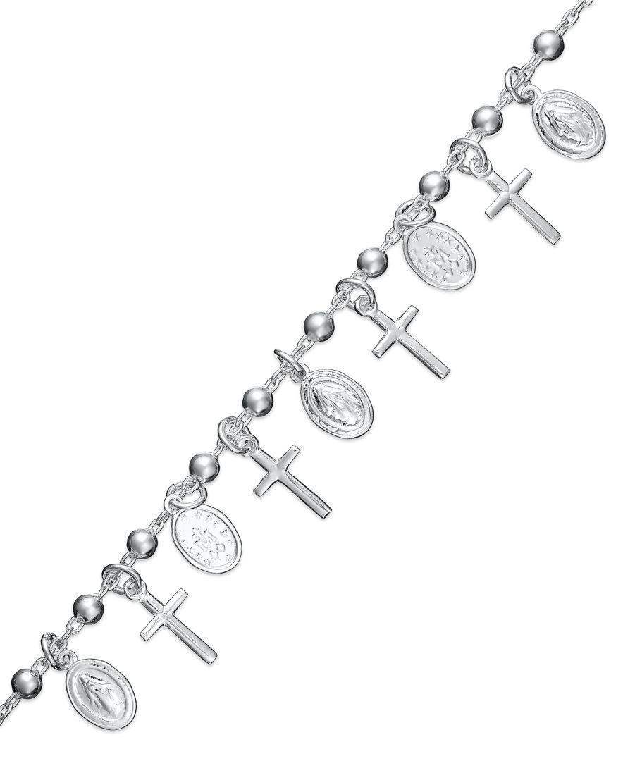 Giani Bernini Sterling Silver Bracelet, Cross Charm Bracelet