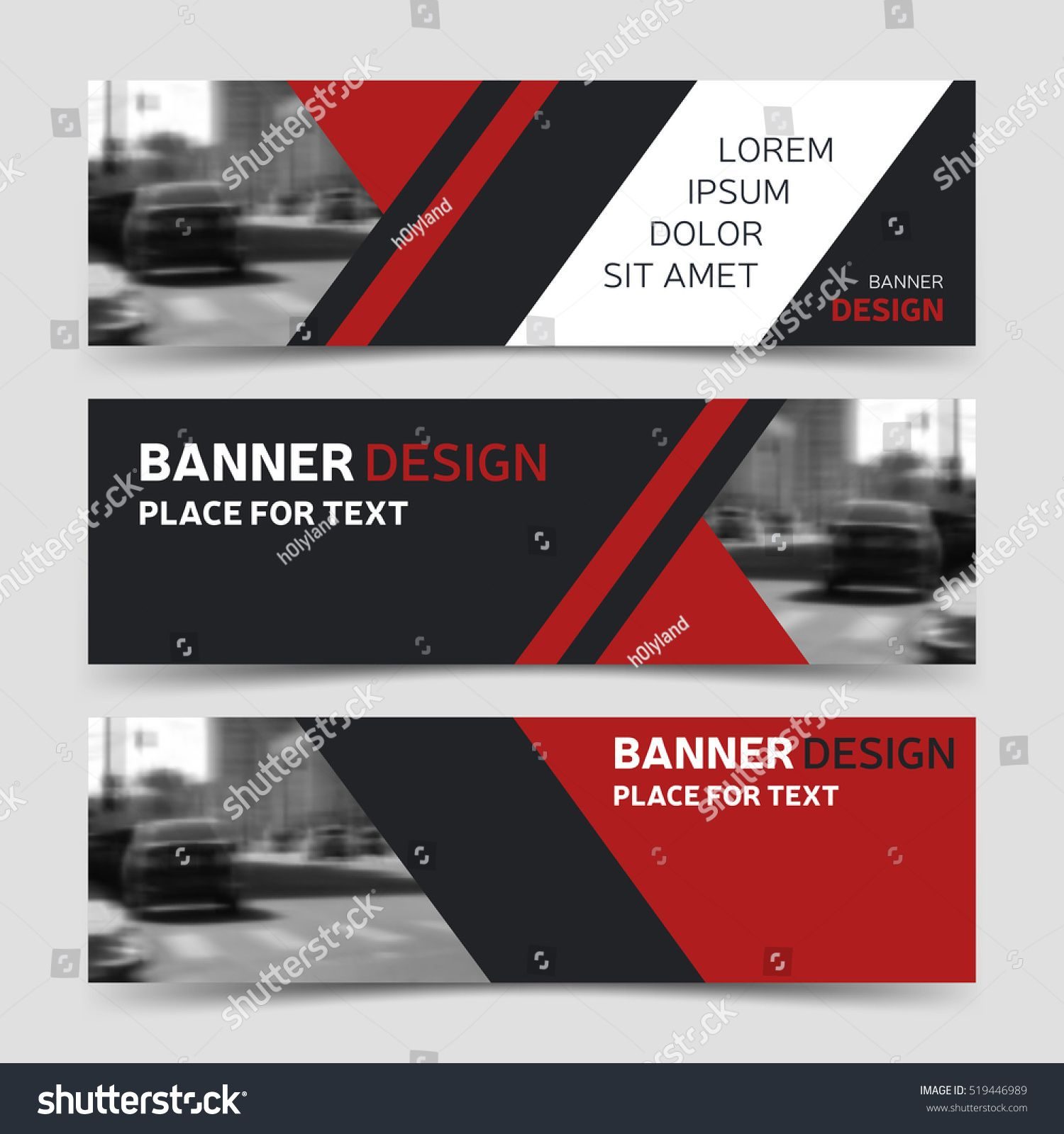 Set of three red horizontal business banner templates vector set of three red horizontal business banner templates vector corporate identity design modern abstract background layout eps10 wajeb Image collections