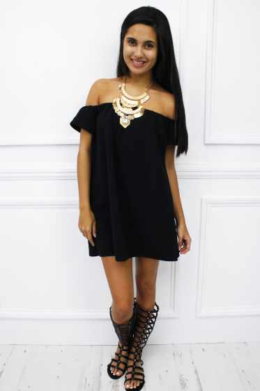 'Toulon' black peasant mini dress £15.99 free UK shipping