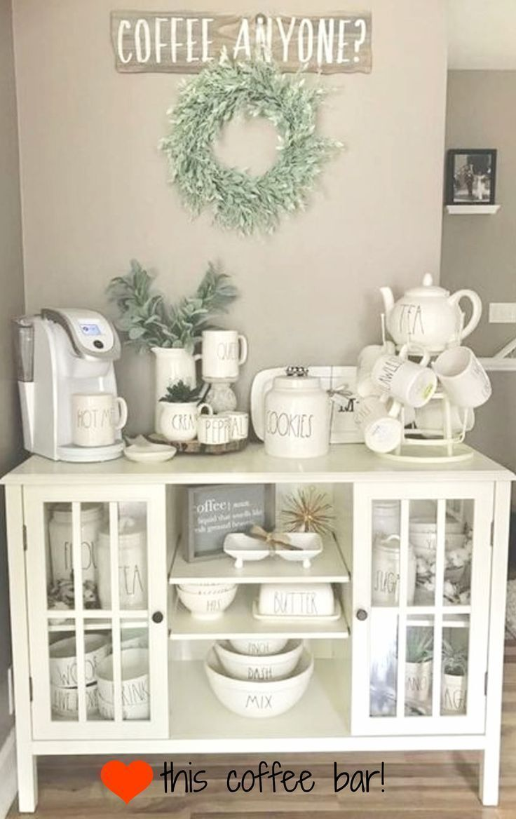 Put This Coffee Bar In My Kitchen Now Love Nook Setup And All The Gorgeous Rae Dunn Canisterugs That Farmhouse Cabinet