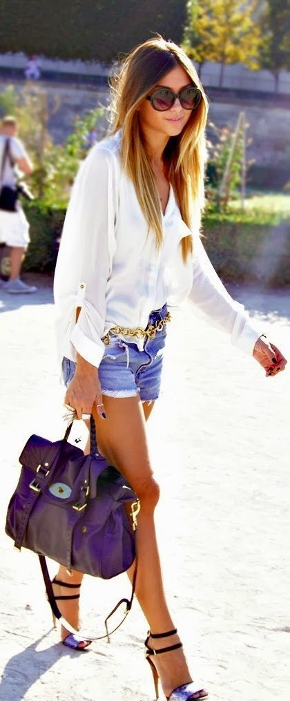 Denim Shorts white shirt Outfit. Women Work Outfits | Summer ...