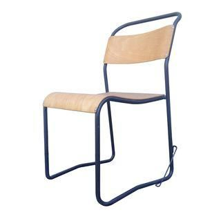 French Industrial Metal U0026 Plywood Chair