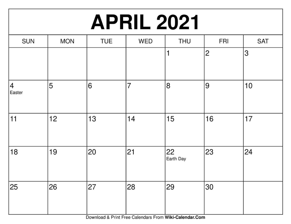 April 2021 Calendar Template April 2021 Calendar | Free calendars to print, Calendar printables
