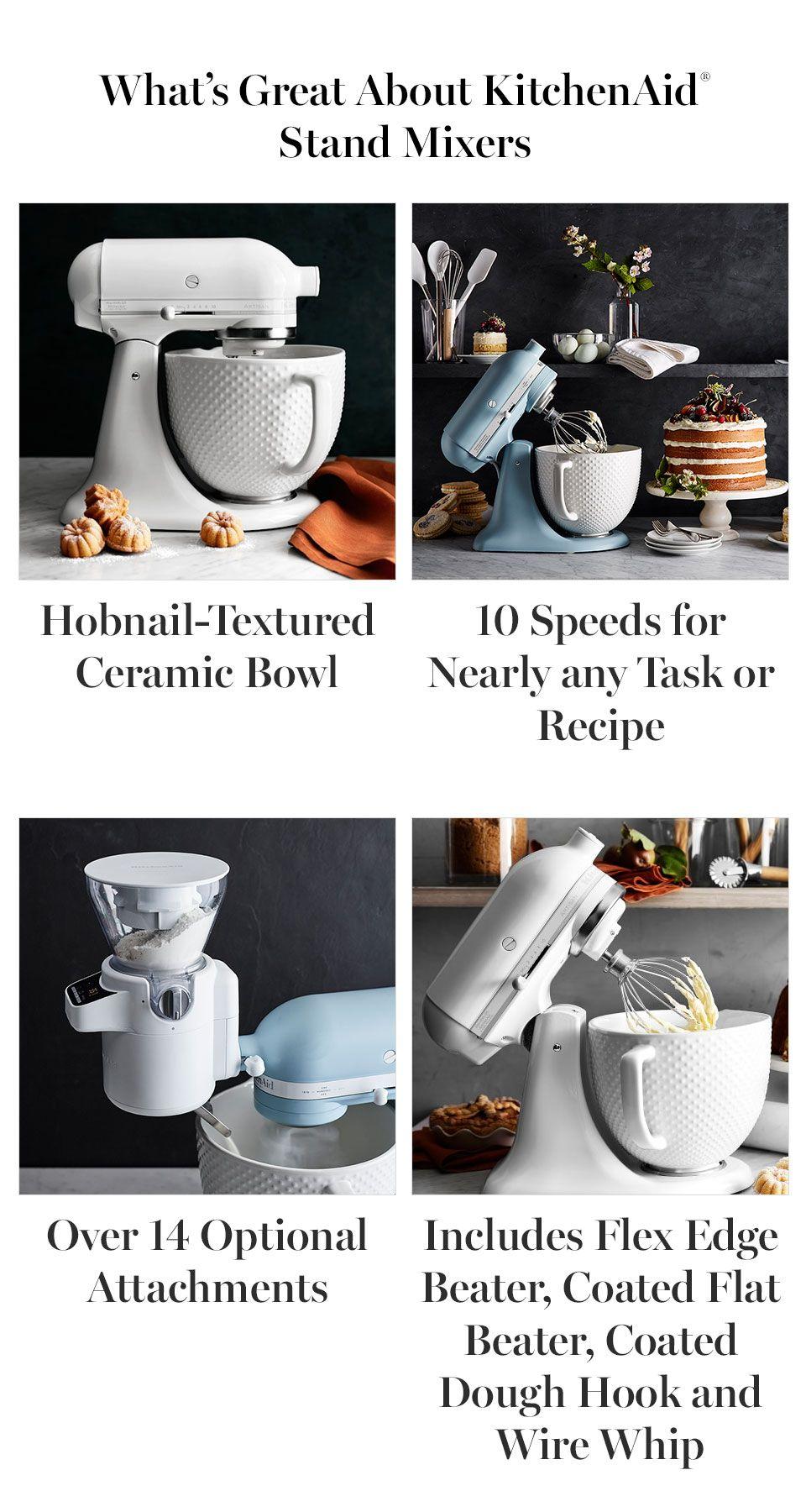 Kitchenaid artisan white mixer with hobnail bowl kitchen