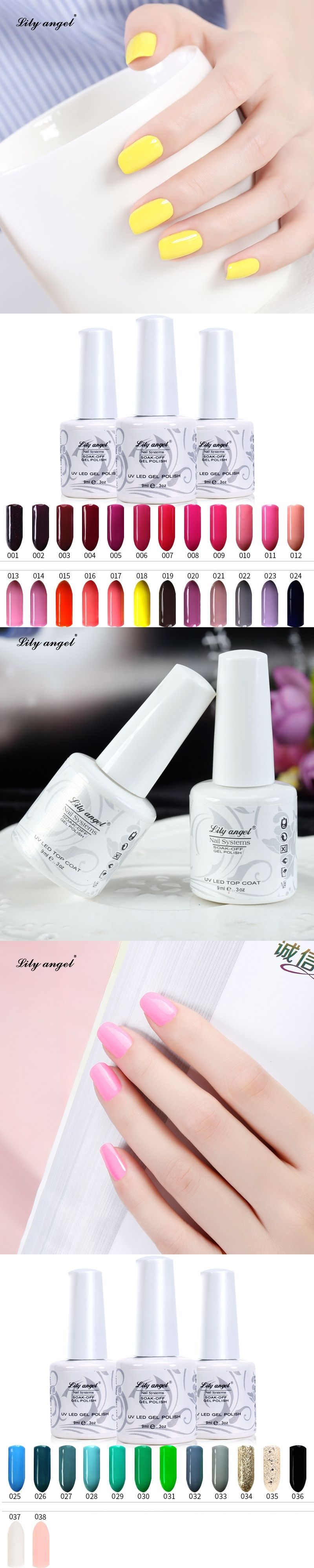 Lily Angel Traditional 38 Color Nail Gel Colors 9ml Nail Art