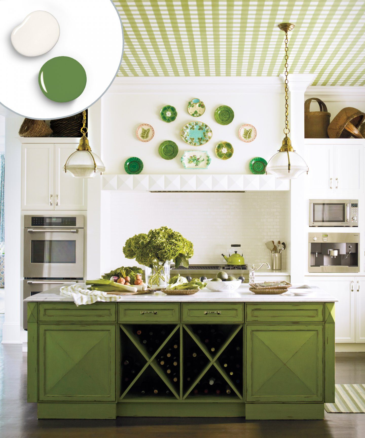 12 Kitchen Cabinet Color Combos That Really Cook Green Kitchen Cabinets Classic White Kitchen Kitchen Cabinet Colors