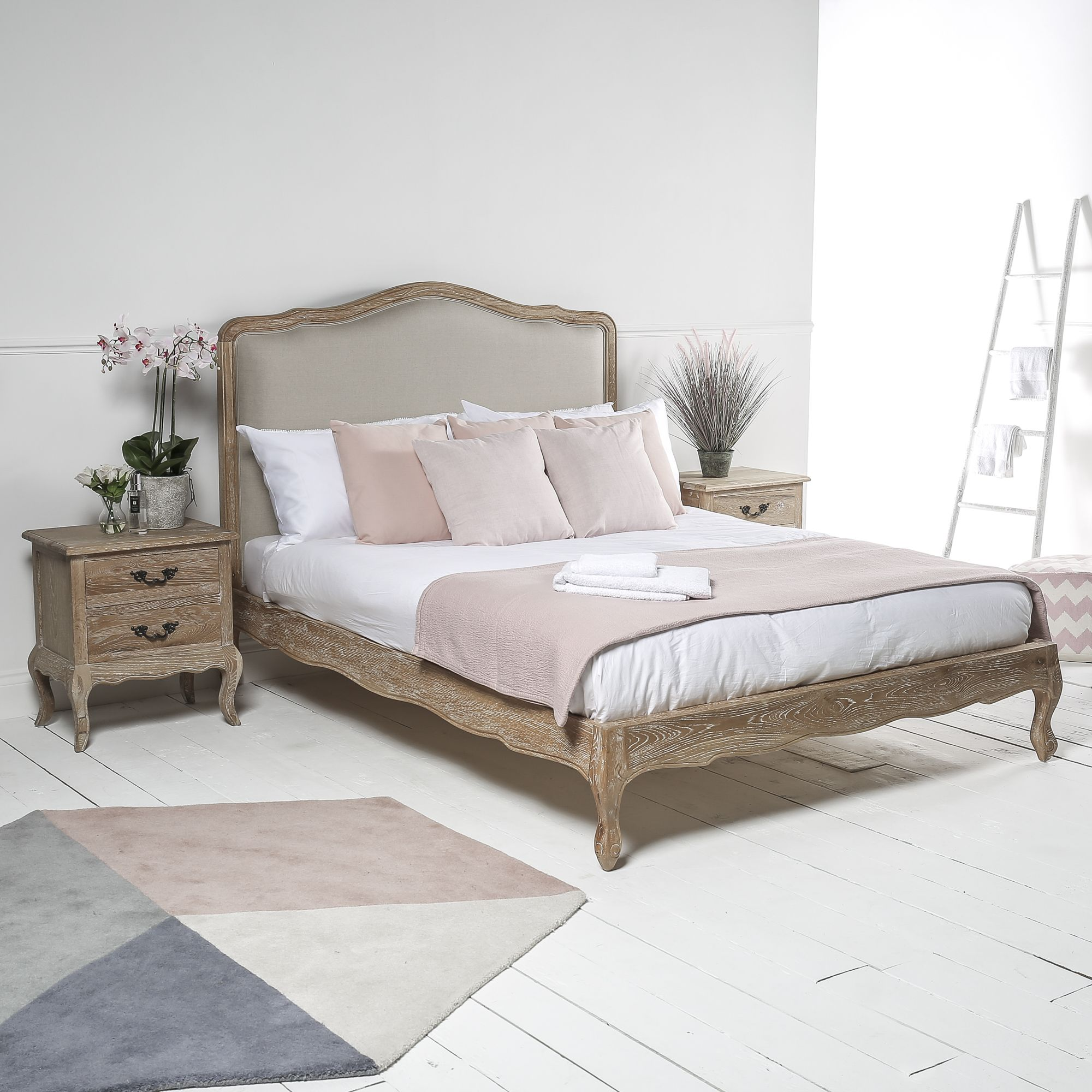 French Weathered Limed Oak Upholstered Low Foot Board Bed Super