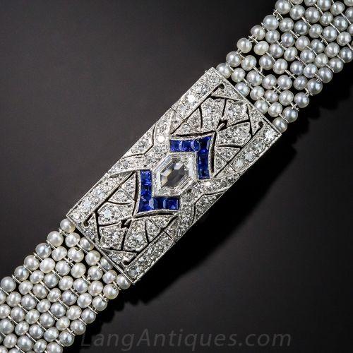 f6b2118401 Art Deco Platinum, Diamond, Sapphire and Seed Pearl Bracelet | Art ...