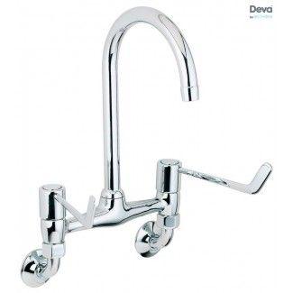 Deva Dlv305wm Chrome Action Two Handle Wall Mount Bridge Sink Mixer With 6 Levers Kitchen Sink Taps