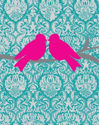 Bird on Hot Pink Gray and Teal Damask Background 8x10 by Freshline