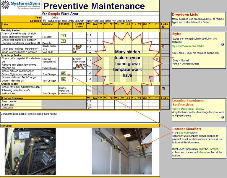 maintenance schedule template excel