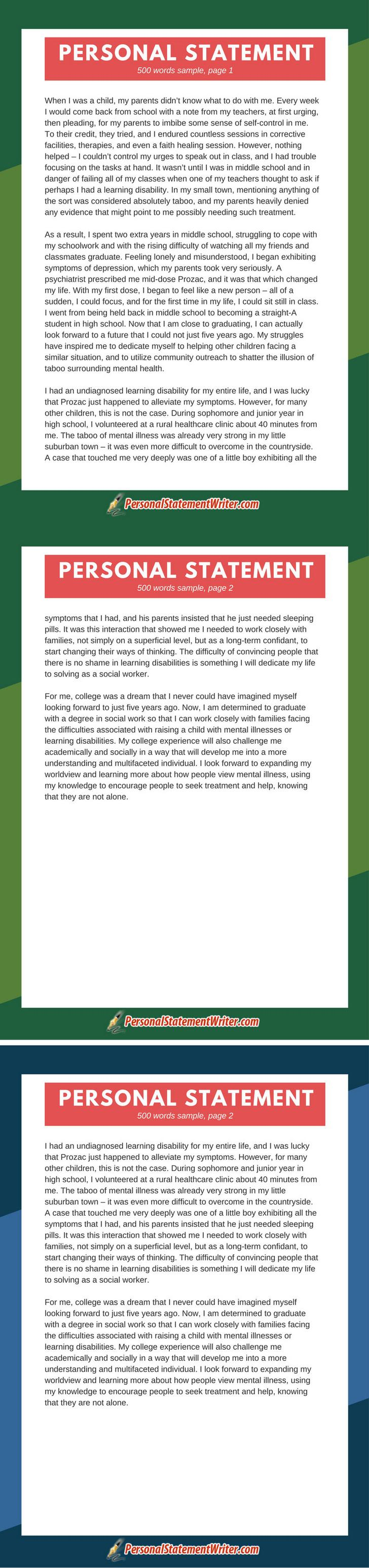 Check Out This 500 Word Personal Statement Sample And Get To Writing Yours  Now See