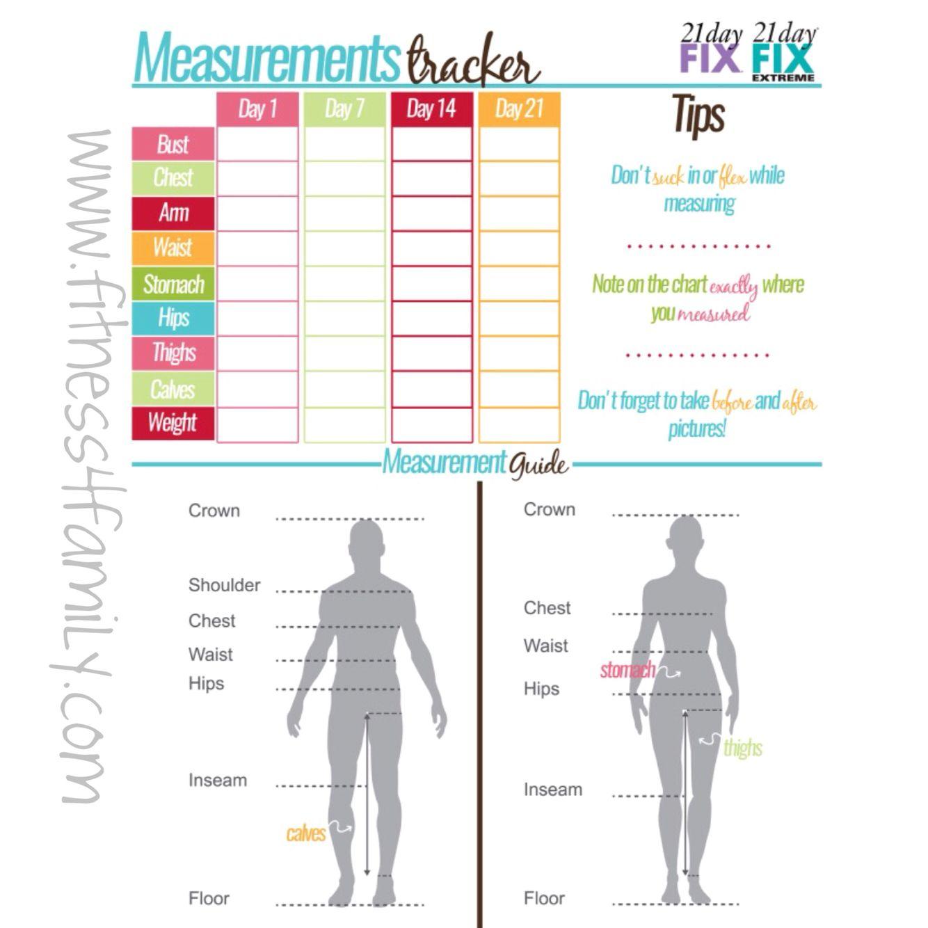 21 day fix body measurement tracker | 21 Day Fix | Pinterest ...