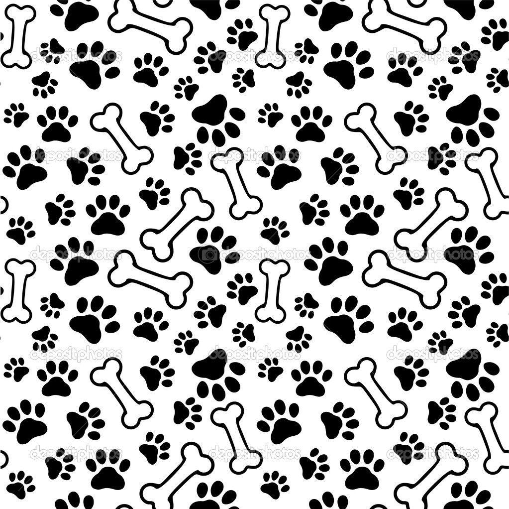 Background Dog Paw Print Bone Vector Stock Vector 1023