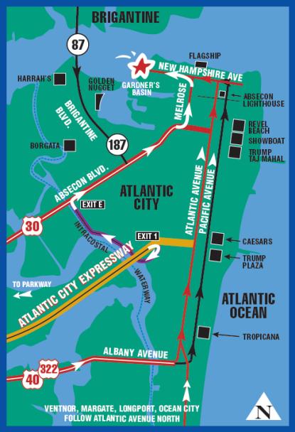 Map Of Atlantic City Casino : atlantic, casino, Directions, Atlantic, City,, Coast, Vacation,, Vacation