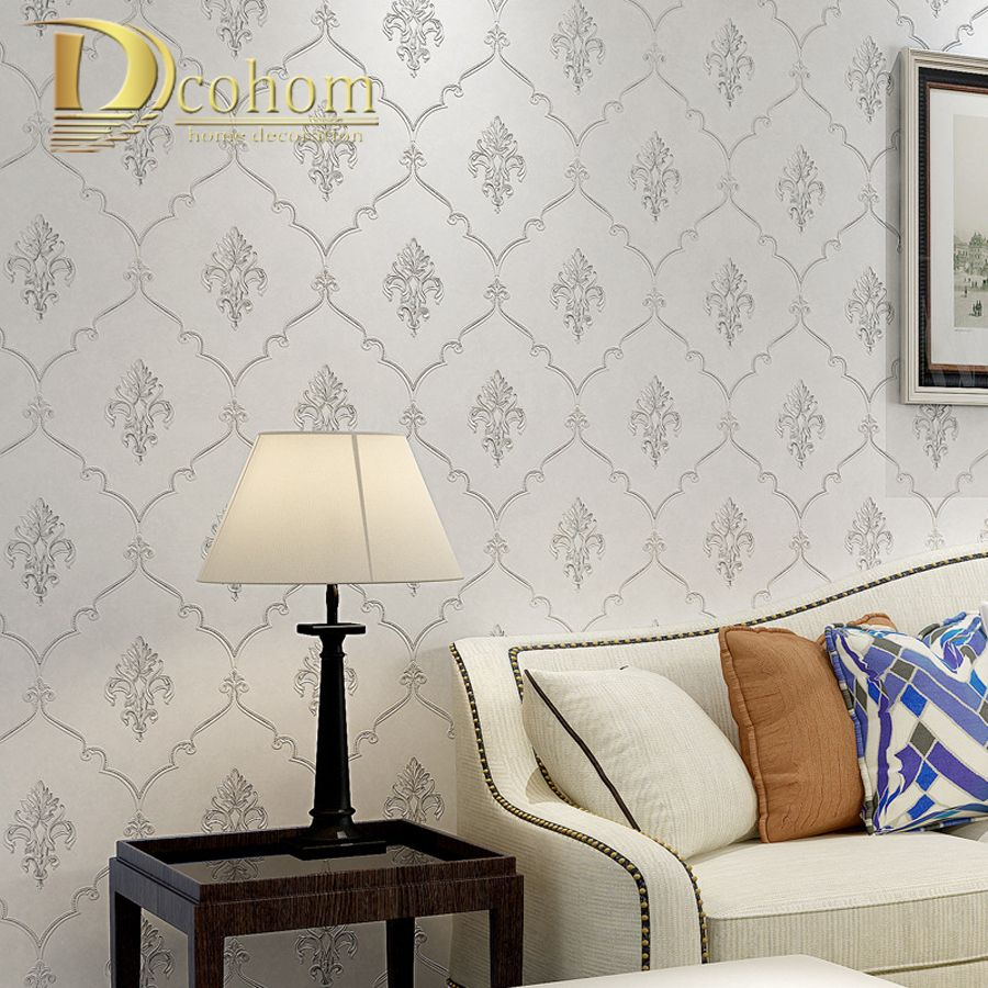 Simple Luxury European Style Beige Black Damask Wallpaper For Walls
