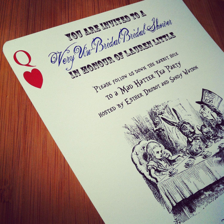 Alice in wonderland mad hatter tea party bridal shower or alice in wonderland mad hatter tea party bridal shower or bachelorette invitation 300 via etsy stopboris Images