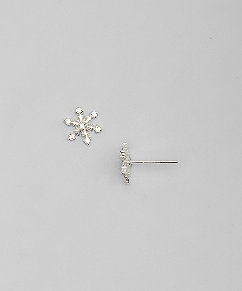Look what I found on #zulily! Posh Silver Company Cubic Zirconia & Sterling Silver Snowflake Stud Earrings by Posh Silver Company #zulilyfinds