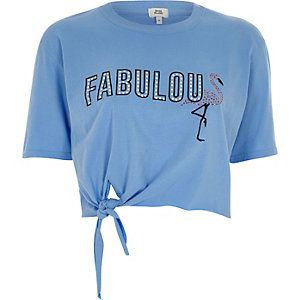42cd2a167be Blue 'fabulous' knot front cropped T-shirt | When Glamour is Key ...