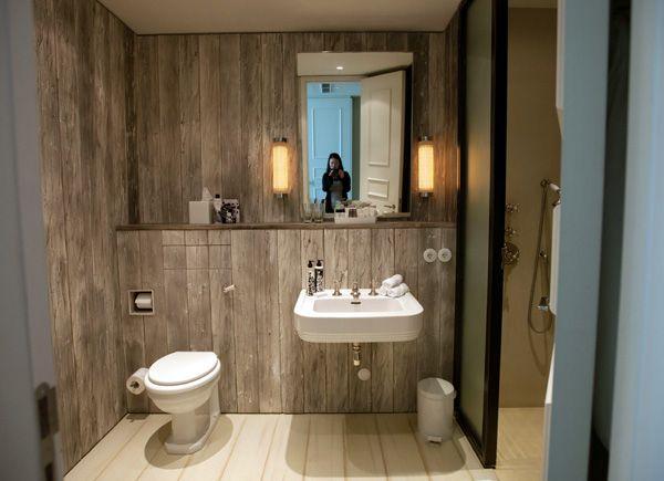 soho house berlin, cladded timber simple bathroom, vanity shelf ...