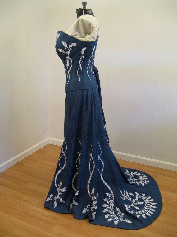 Denim Corset Wedding Dress By Hourglassattire On Etsy 1200 00 Denim Wedding Dresses Denim Wedding Denim And Lace